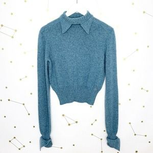 Chanel • Blue Cashmere Pointed Cuff Sweater